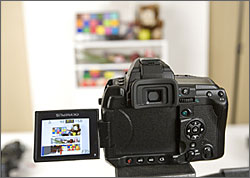 Olympus E-3 fully articulated Live View LCD display