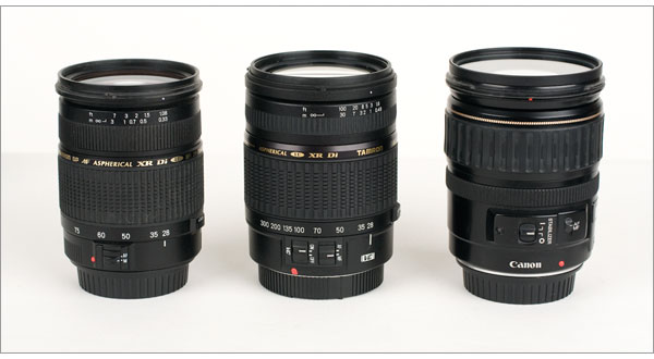 Tamron AF28-300mm F/3.5-6.3 VC lens (center) compared Canon EF 28-135mm IS (right) and Tamron AF28-75mm f/2.8 XR Di (left)