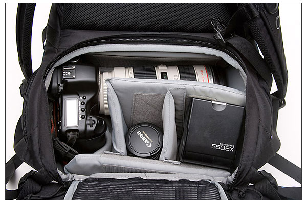 Lowepro Primus main compartment loaded with Canon EOS 5D and other camera gear