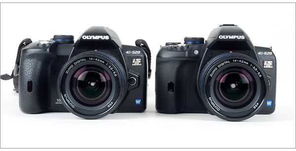 Olympus E-620 compared to Olympus E-520 - front