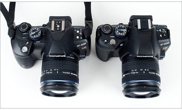 Olympus E-620 compared to Olympus E-520 - top