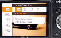 Sony Cybershot DSC-H50 - scene mode selection in shooting menu