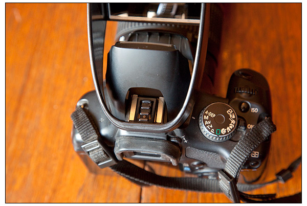 The Lightscoop mounts on your DSLR's hot shoe