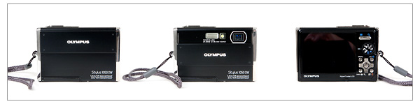 Olympus Stylus 1050 SW - front and back, open and closed