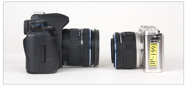 Olympus E-620 and Olympus E-P1 - Side View