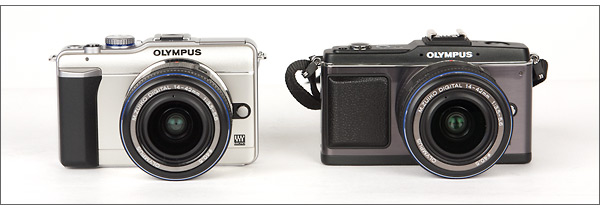Olympus E-PL1 (left) and Olympus E-P2