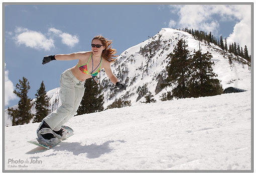 Bikini snowboard action photo - Olympus E-PL1