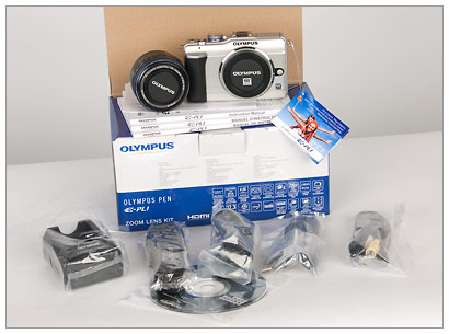 Olympus E-PL1 and box contents