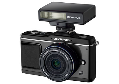 Olympus E-P2 Pen black-on-black kit with matching 17mm lens and flash
