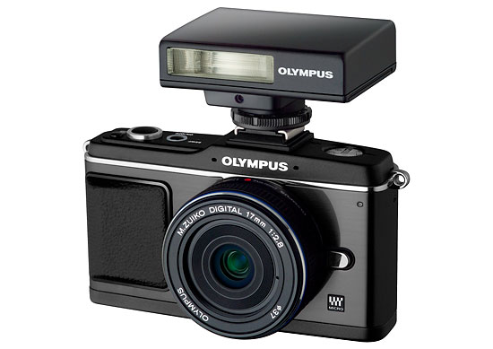 All black Olympus E-P2 kit with black 17mm lens and black flash