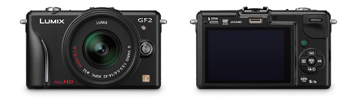 Panasonic Lumix GF2 Micro Four Thirds camera - front and back