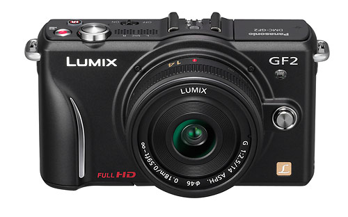 Panasonic Lumix GF2 - front and top controls