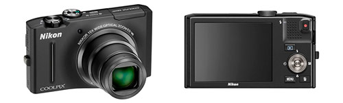 Nikon Coolpix S8100 pocket superzoom camera - front and back