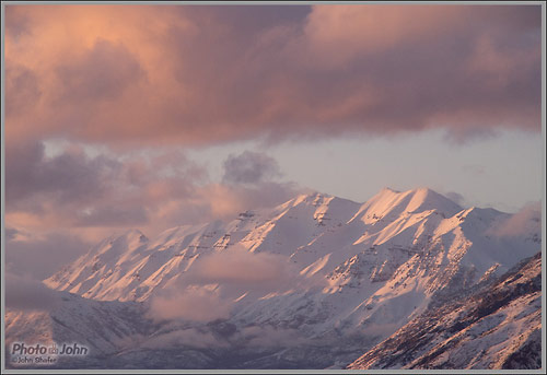 Olympus E-PL2 and 75-300mm zoom - Mt. Timpanogos sunset
