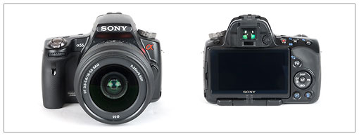 Sony Alpha SLT-A55 transparent mirror camera - front and back