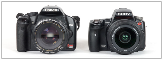 Sony Alpha SLT-A55 (right) and Canon EOS Rebel XSi / 400D