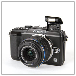 Olympus E-PL2 Pen camera pop-up flash