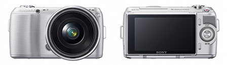 Sony Alpha NEX-C3 - front and back views