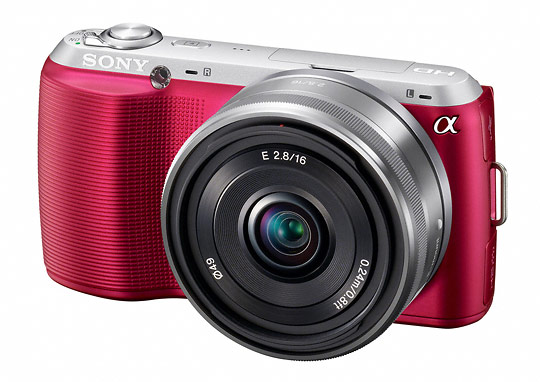 Pink Sony Alpha NEX-C3 camera