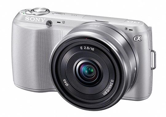 Silver Sony Alpha NEX-C3 camera