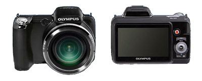 Olympus SP810-UZ 36x superzoom camera - front and back