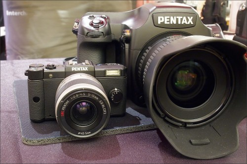 Contrast - the tiny Pentax Q camera with the Pentax 645D medium format digital camera