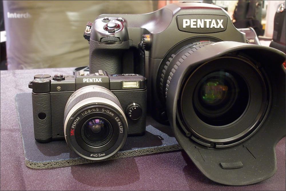 Contrast - the tiny Pentax Q camera with the Pentax 645D medium format digital camera