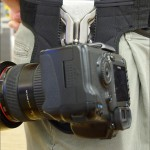 Side view of the SpiderPro Camera Holster with a Canon EOS 5D Mark II and 24-70mm f/2.8L lens