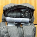 Camera compartment with Nikon D7000 in Clik Elite's retro-styled climber's gear pack