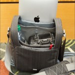"""Interior of the Clik """"Classic"""" shoulder pack, with Nikon D7000 DSLR, iPad and water bottle"""
