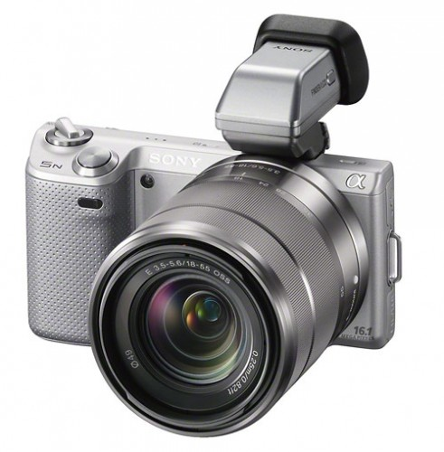 Sony Alpha NEX-5N camera with new FDA-EV1S optional OLED electronic viewfinder (EVF)