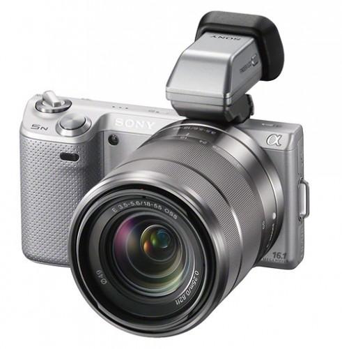Sony Alpha NEX-5N camera with new FDA-EV1S optional OLED electronic viewfinder (EVF)