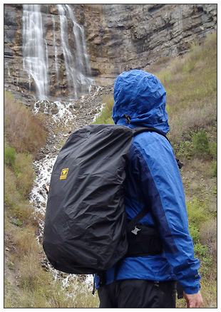 The Mountainsmith Quantum Daypack in the rain