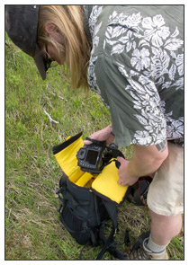 """Accessing the """"Camera Holster"""" from the top zipper of the Mountainsmith Quantum Daypack"""