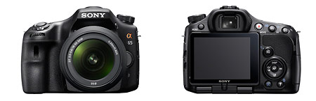 Sony Alpha SLT-A65 camera - front and back