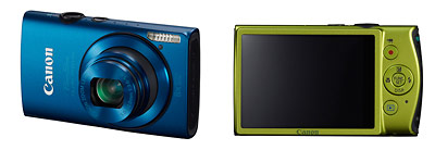 Canon PowerShot ELPH 310 HS pocket camera - front and back / blue and green