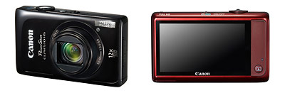 Canon PowerShot ELPH 510 HS pocket superzoom camera - front and back / black and red