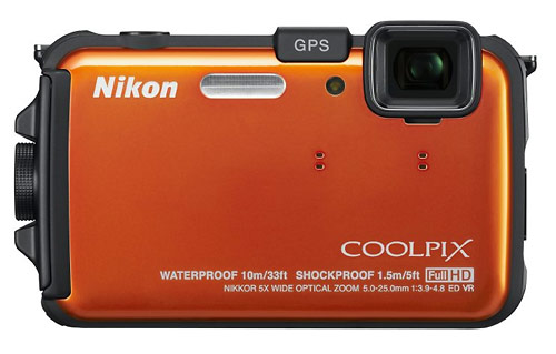 Nikon Coolpix AW100 waterproof digital camera - orange