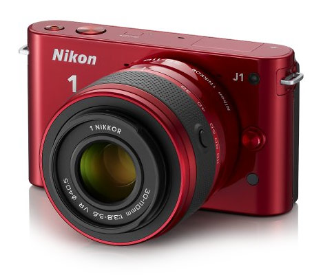 Nikon J1 compact mirrorless interchangeable lens camera - red