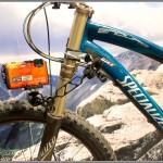 Nikon Coolpix AW100 camera mounted on a mountain bike
