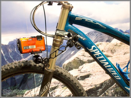 Nikon Coolpix AW100 camera mounted on a mountain bike