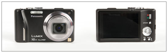 Panasonic Lumix ZS10 pocket superzoom camera - front and back (click for larger image)