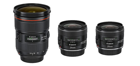 New Canon Lenses (L to R): EF 24-70mm f/2.8L II, 24mm f/2.8 IS & 28mm f/2.8 IS
