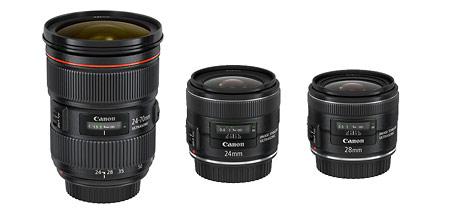 New Canon Lenses (L to R): EF 24-70mm f/2.8L II, 24mm f/2.8 IS & 28mm f/2.8 IS