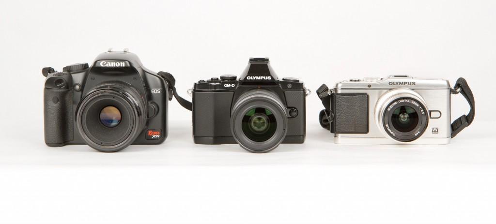 Olympus E-M5 With E-P3 Pen & A Small Canon DSLR