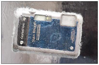 Olympus TG-610 waterproof camera - frozen in a block of ice