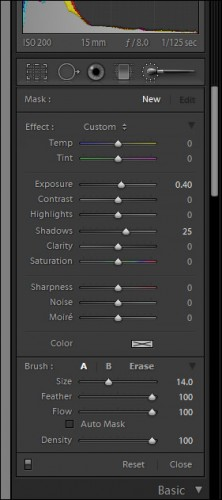 Adobe Lightroom 4 Adjustment Brush Panel