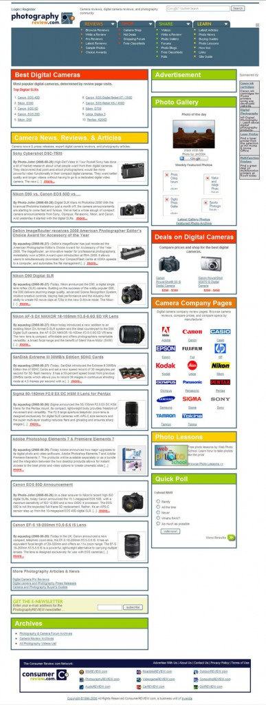 PhotographyREVIEW.com Homepage - 2008 to 2012