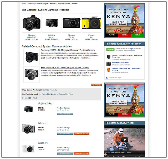 PhotographyREVIEW.com - New Product Category Page