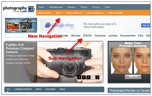New PhotographyREVIEW.com Navigation